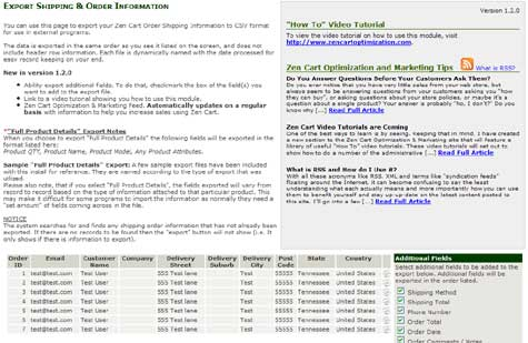 Zen Cart Export Shipping and Order information module contribution plugin